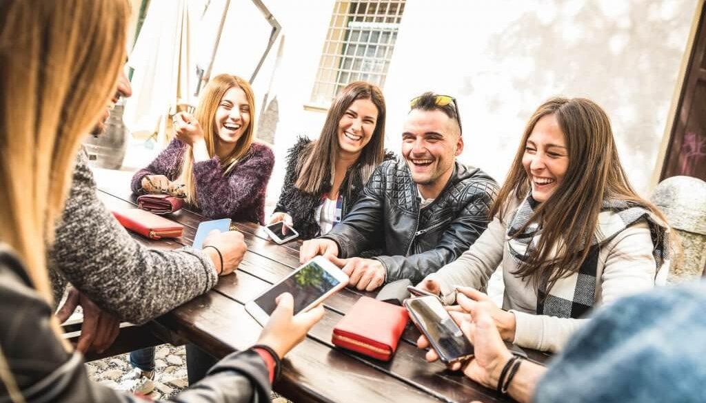 Millennial Friends Group Having Fun Using Mobile Smart Phone - Y