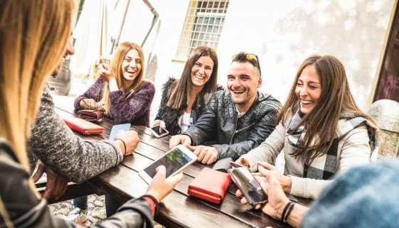 Millennial Friends Group Having Fun Using Mobile Smart Phone - Y